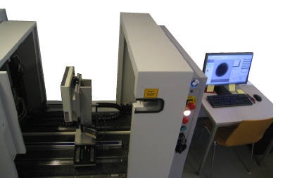 The µ-CT scanner at University of Bremen. The specimen chamber is opened, and the X-ray detector is visible in the middle of it.